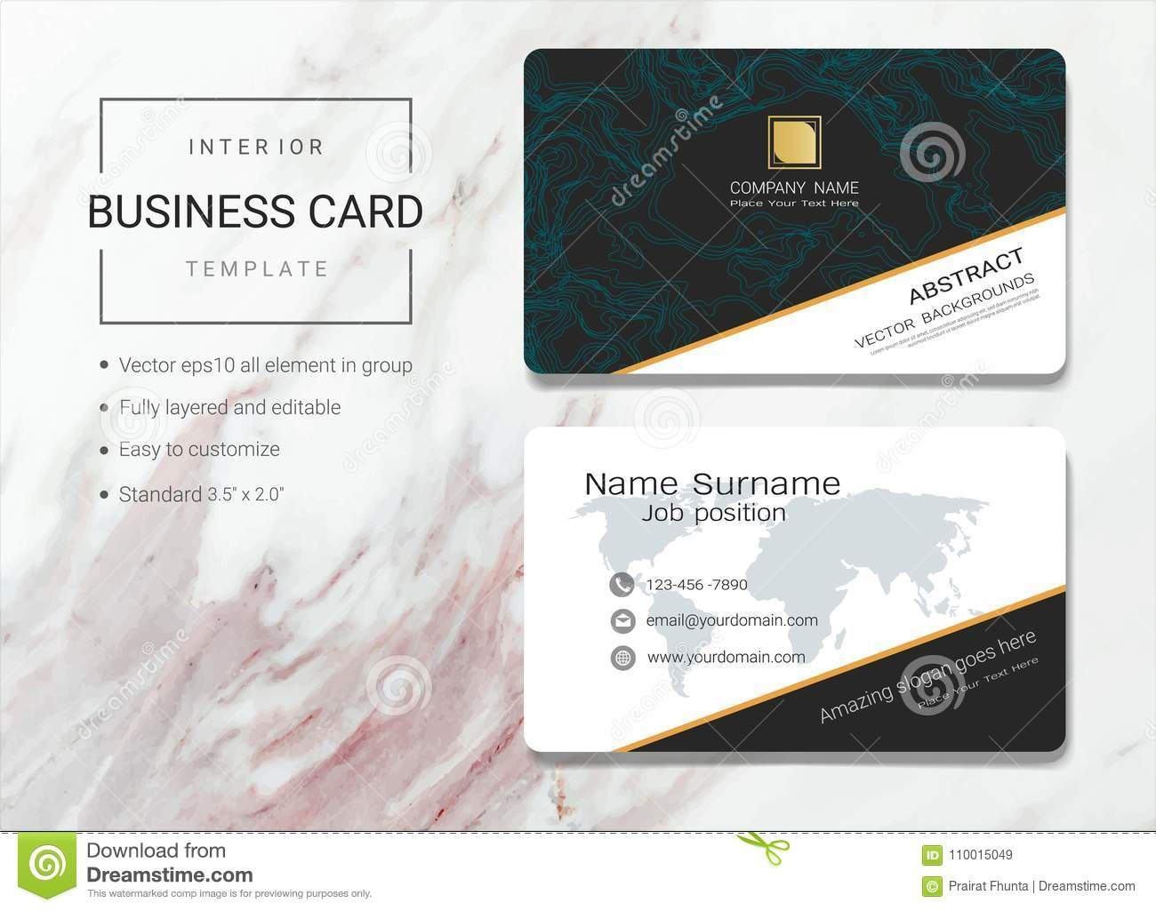Interior Business Card Or Name Template Stock Vector