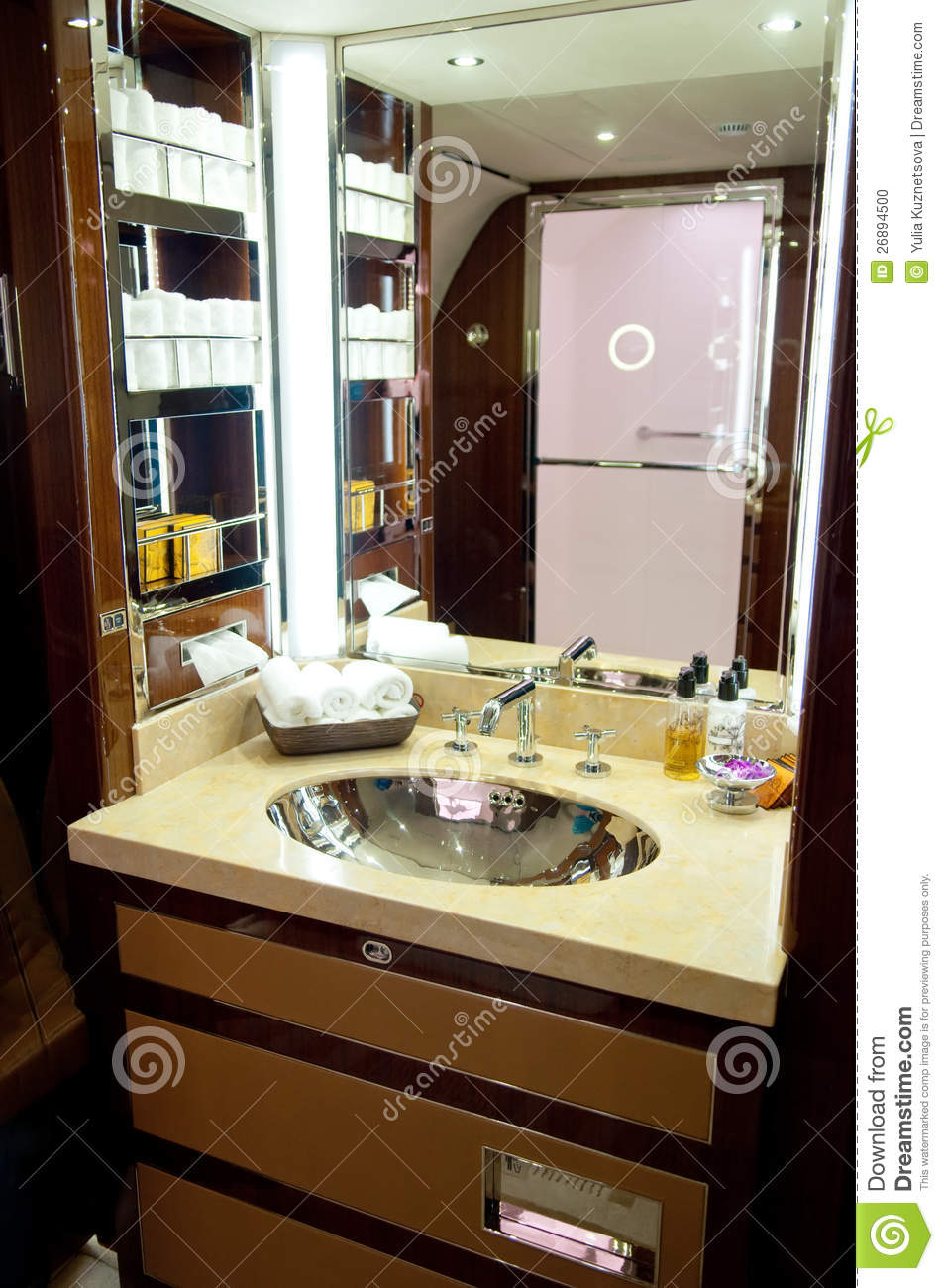 Interior of business jet bathroom editorial image image for Private jet bathroom