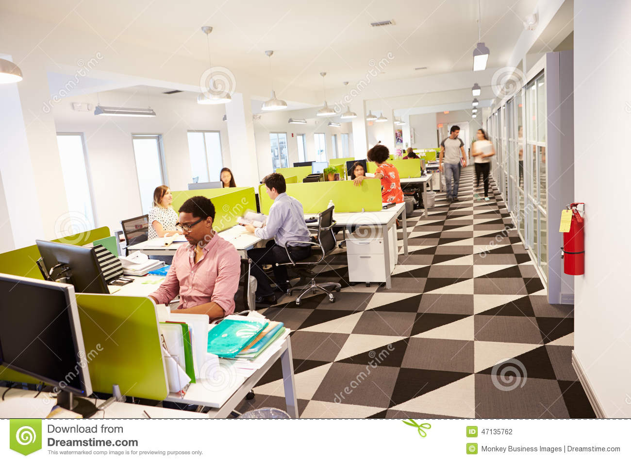wide angle view busy design office. interior of busy modern design office stock photography wide angle view