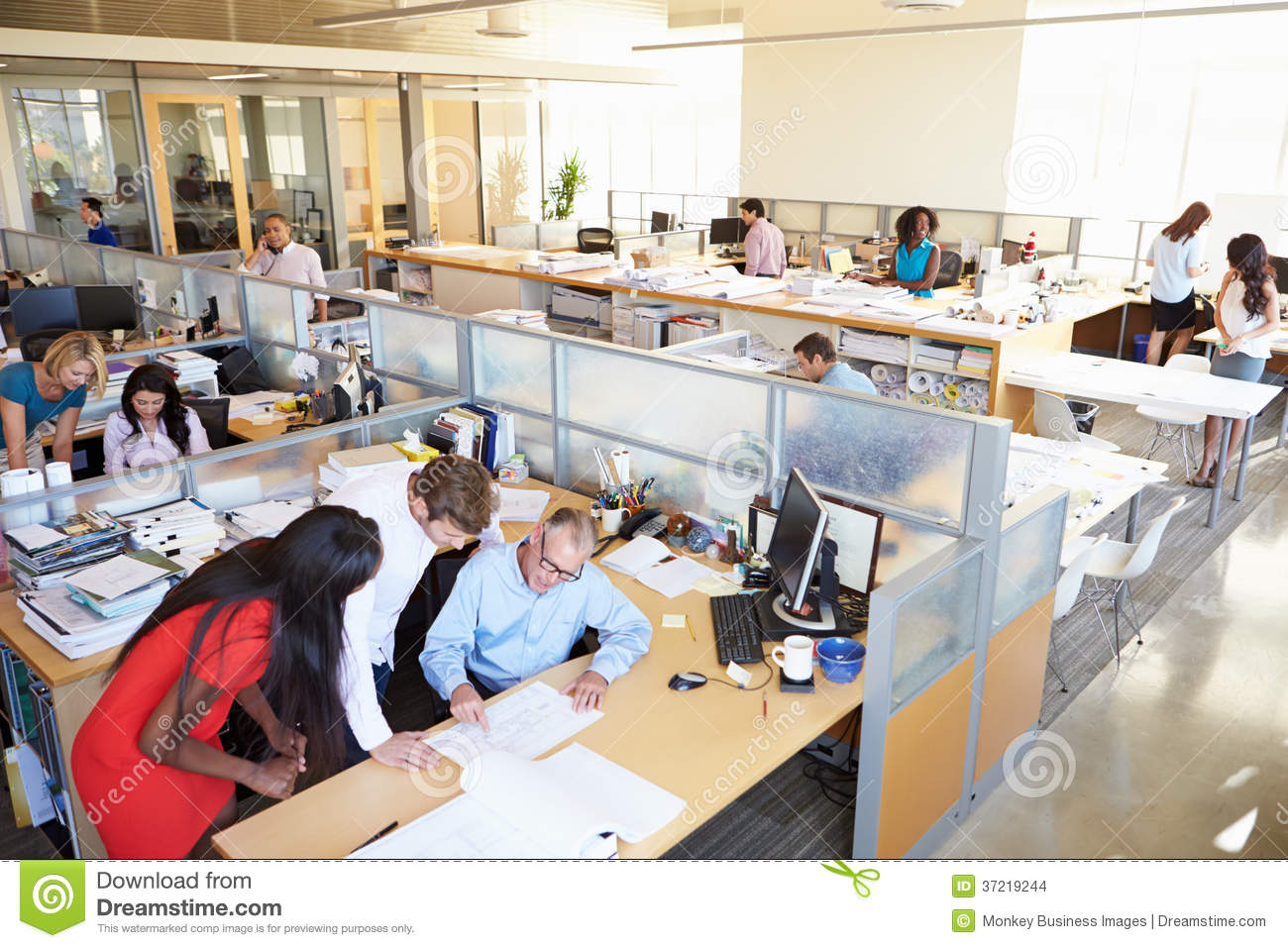 Interior of busy modern open plan office stock photo for Interior design person
