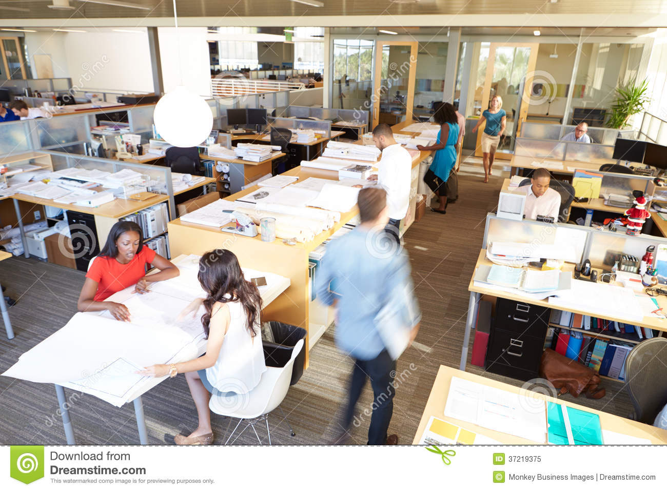 wide angle view busy design office. interior of busy modern open plan office royalty free stock photo wide angle view design l