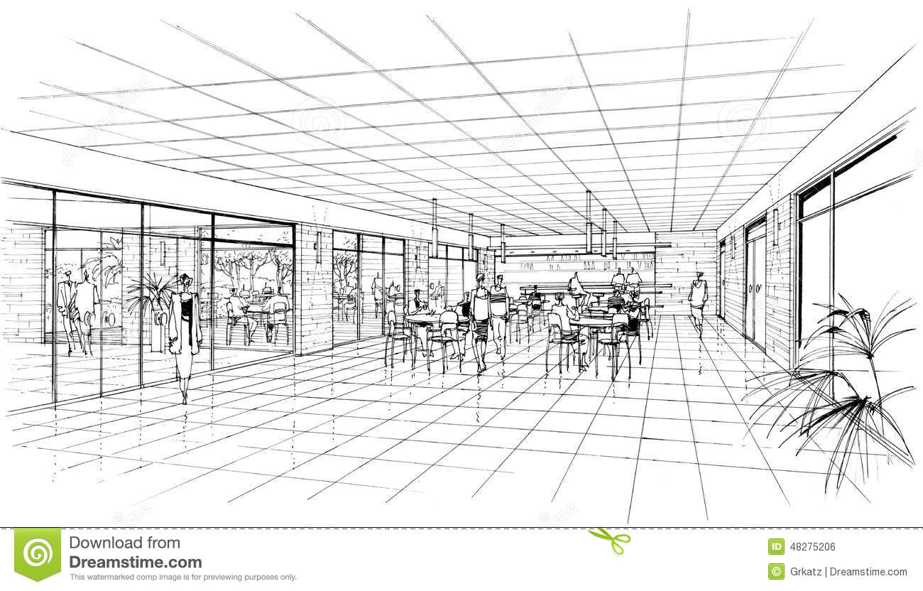 Cafe drawing interior -