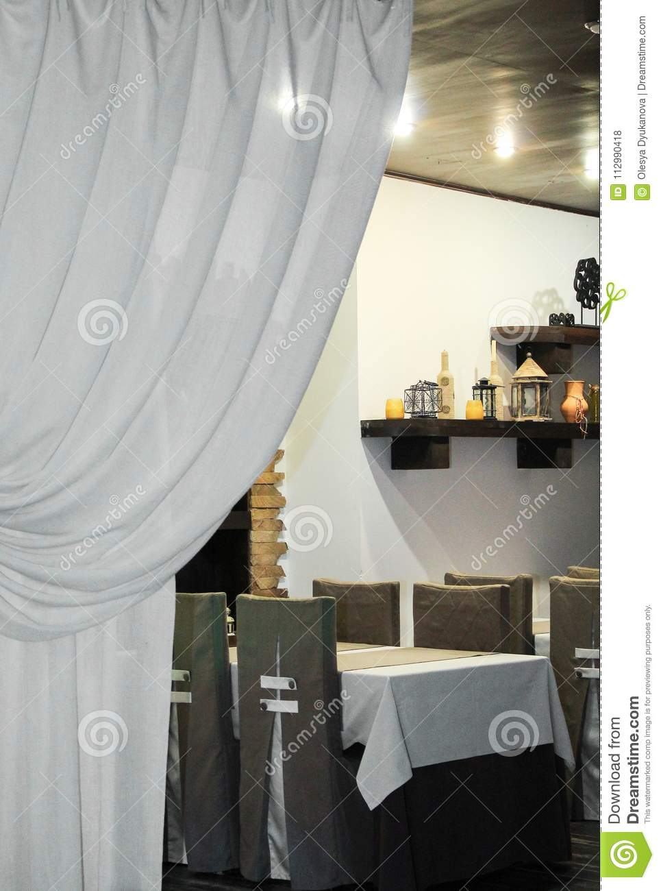 Interior of cafe is ready for the arrival of visitors