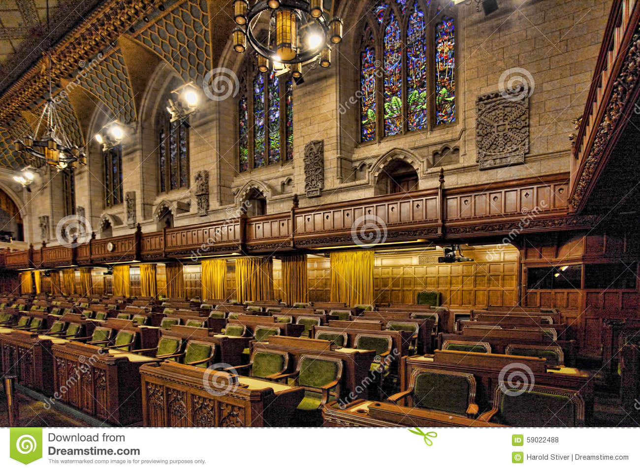 Interior Of The Canada Commons Of Parliament, Ottawa