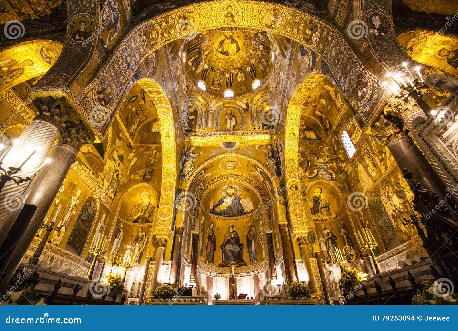 Interior of the Capella Palatina Chapel inside the Palazzo dei Normanni in Palermo, Sicily, Italy