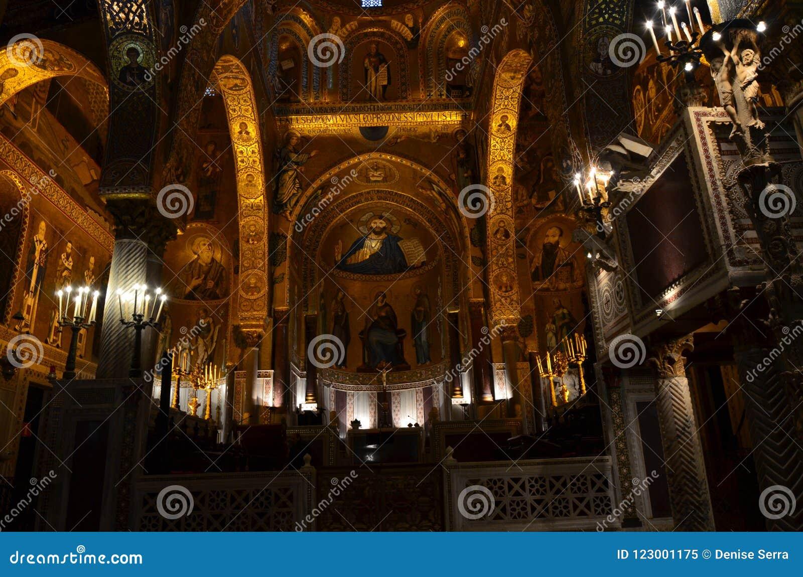 Interior of the Capella Palatina in Palazzo dei Normanni Norman Palace - Palermo - Sicily - Italy