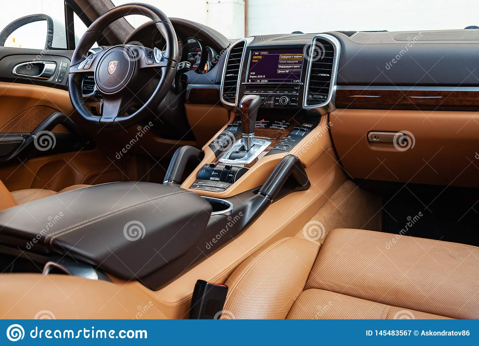 The Interior Of The Car Porsche Cayenne 958 2011 Year With A View Of The Steering Wheel Dashboard Seats And Multimedia System Editorial Photography Image Of Leather Auto 145483567