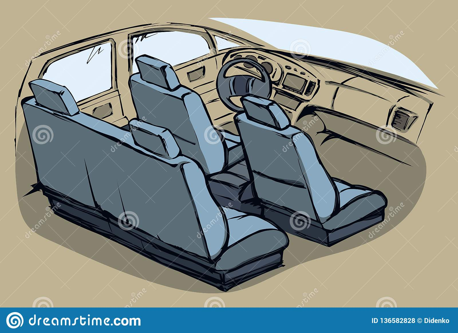 Interior Of The Car Vector Drawing Stock Vector Illustration Of