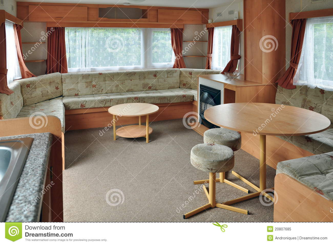 Interior of caravan wagon or trailer royalty free stock for L interieur trailer
