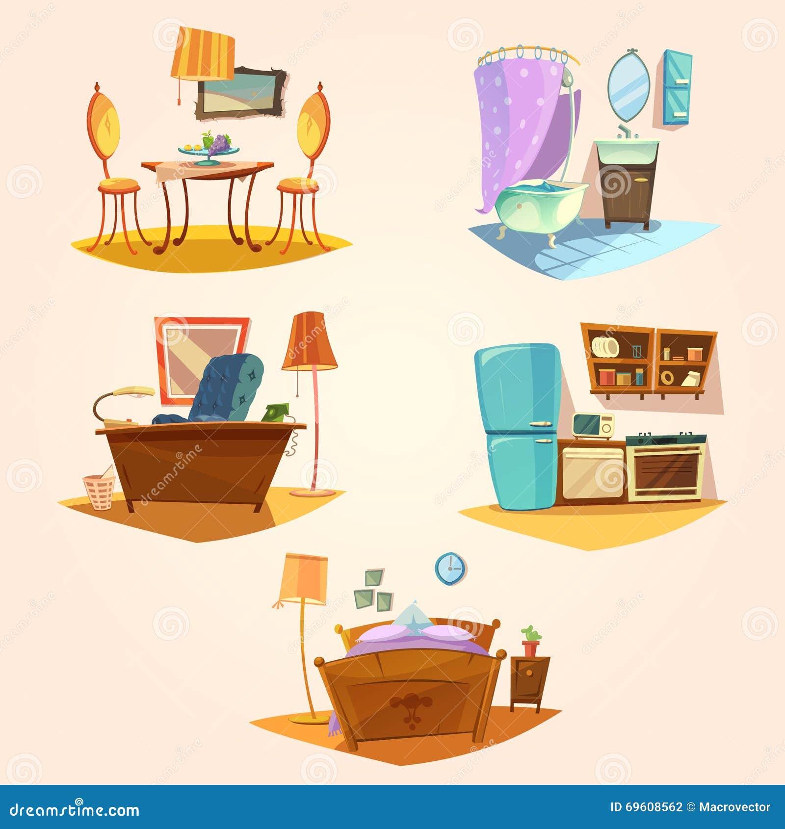 Cartoon Furniture: Interior Cartoon Retro Set Stock Vector. Illustration Of