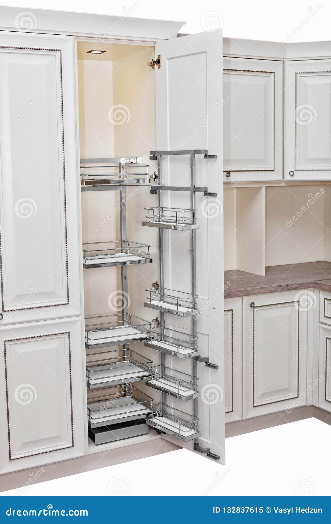 Interior Casero Cocina - Puerta Abierta Con Muebles Madera Y ...