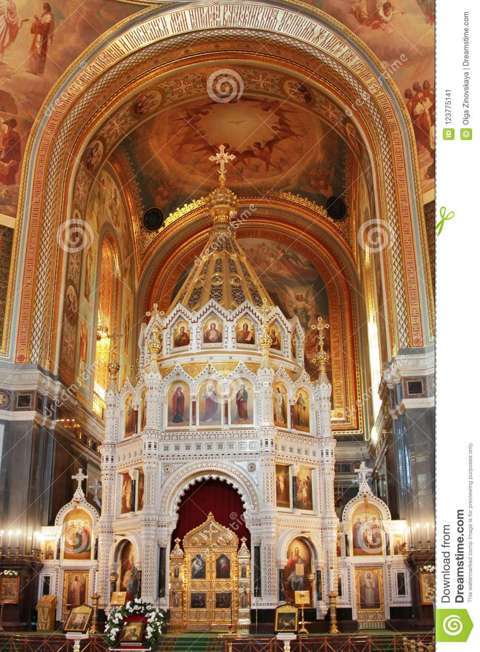 Interior Of The Cathedral Of Christ The Savior Moscow