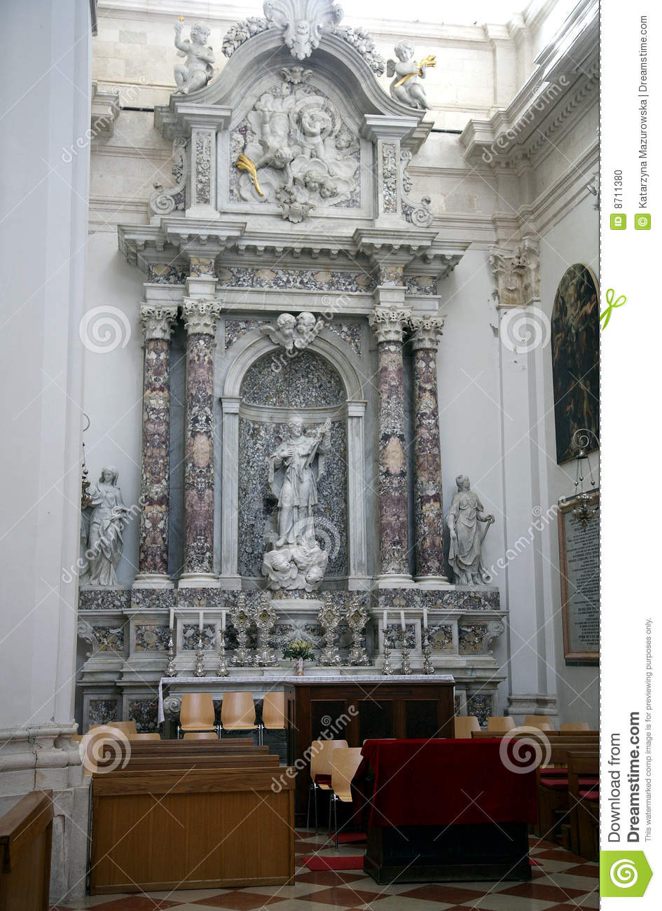 The Interior Of Cathedral In Dubrovnik Stock Photo Image