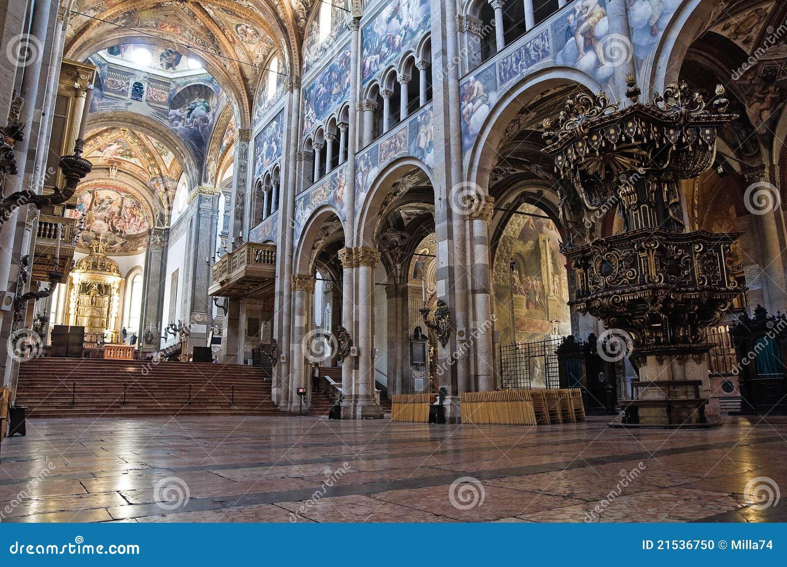 Interior Cathedral Parma Emilia Romagna Italy Stock