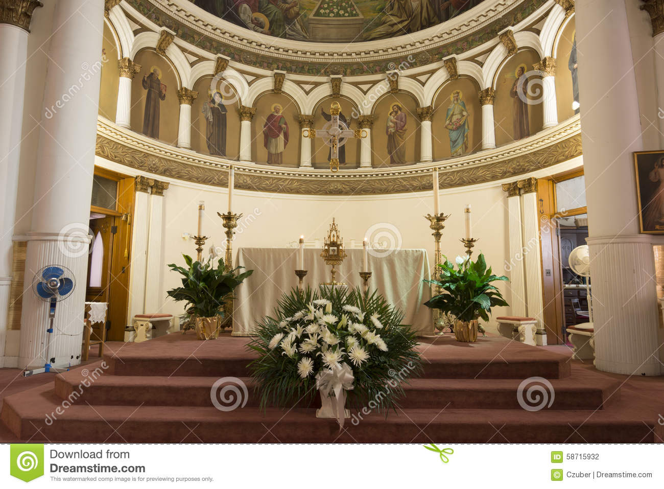 Interior Catholic Church Saint Leonard Stock Image