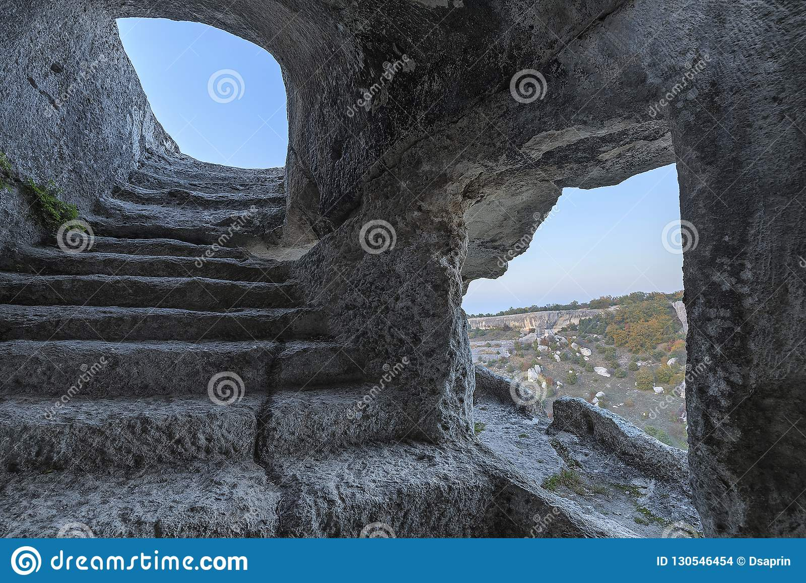 The interior of the caves of the ancient city of Eski-Kermen in Crimea