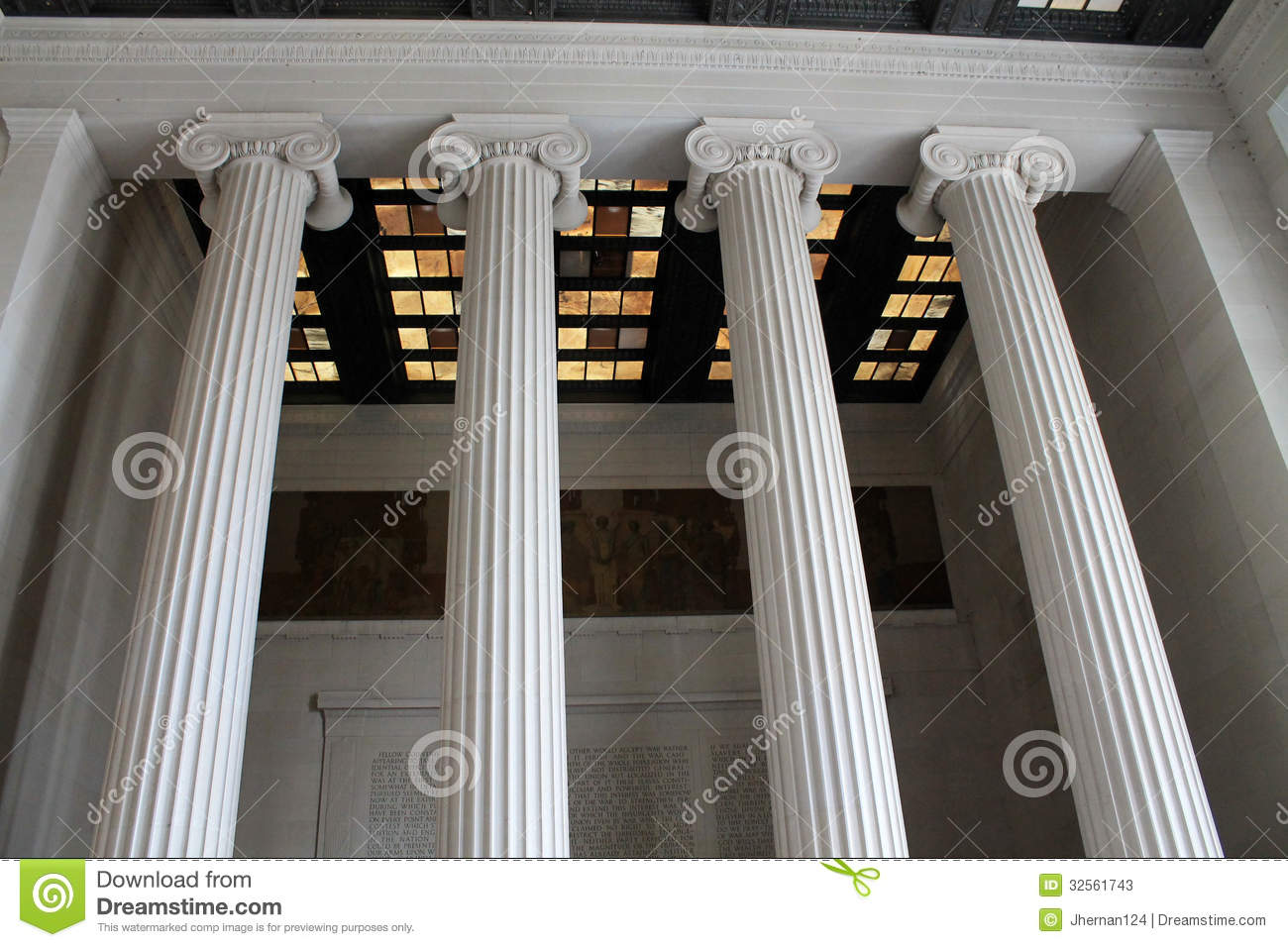 Interior Ceiling And Columns Lincoln Memorial Stock Photos Image