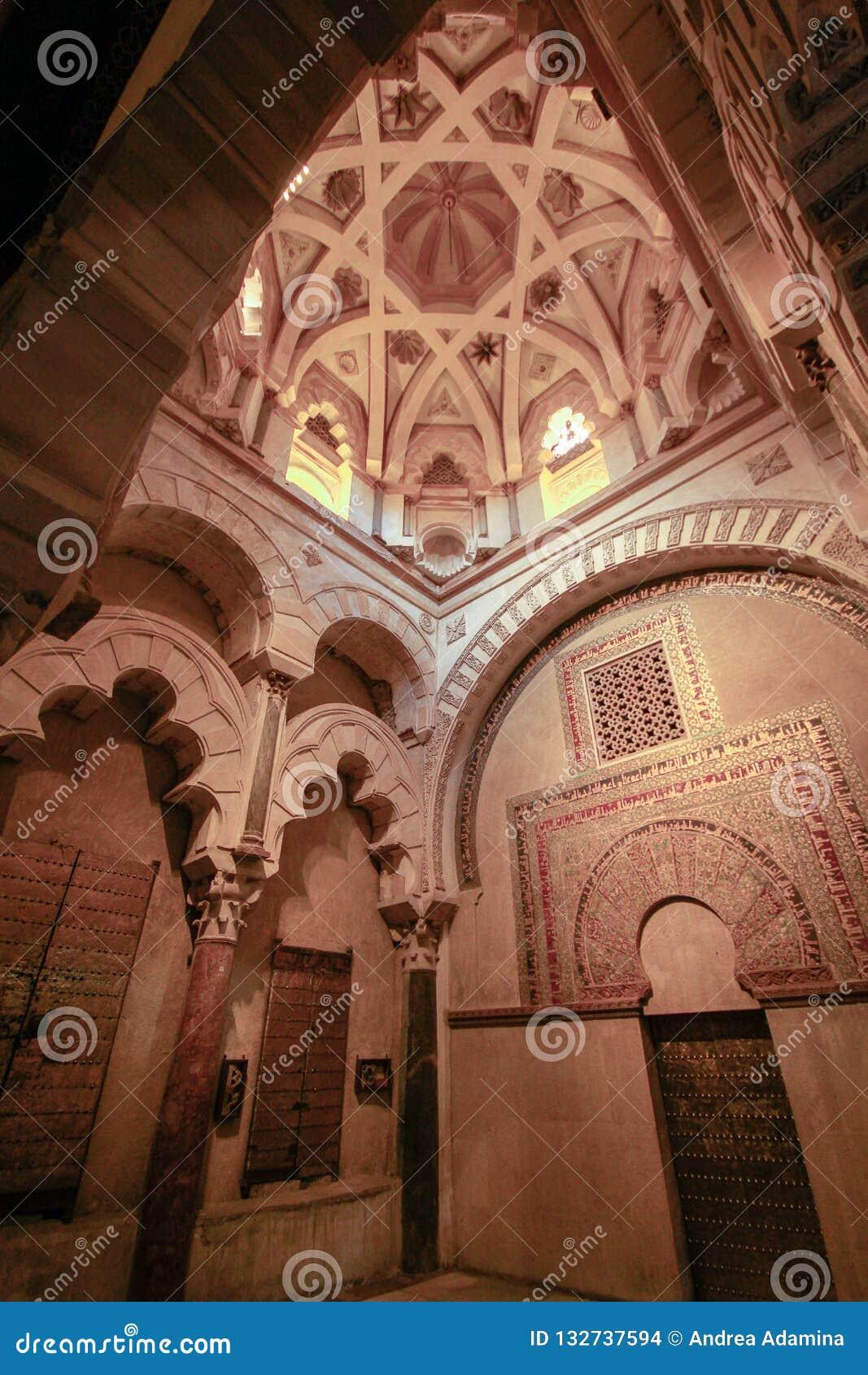 The interior of the chapel of Villaviciosa in Mesquite mosque mezquita in Cordoba. Spain Andalucia