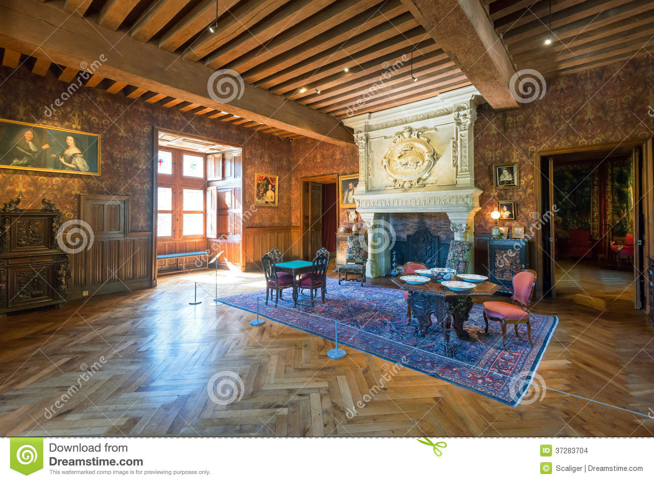Interior chateau de azay le rideau france editorial stock for Interieur french
