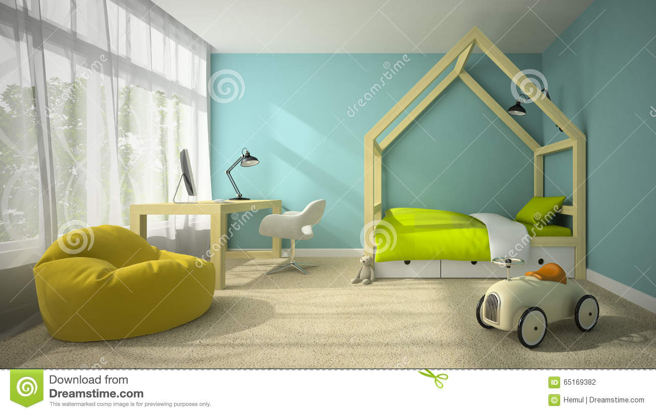 Exterior: Interior Of Children Room With Toy Car 3D Rendering Stock