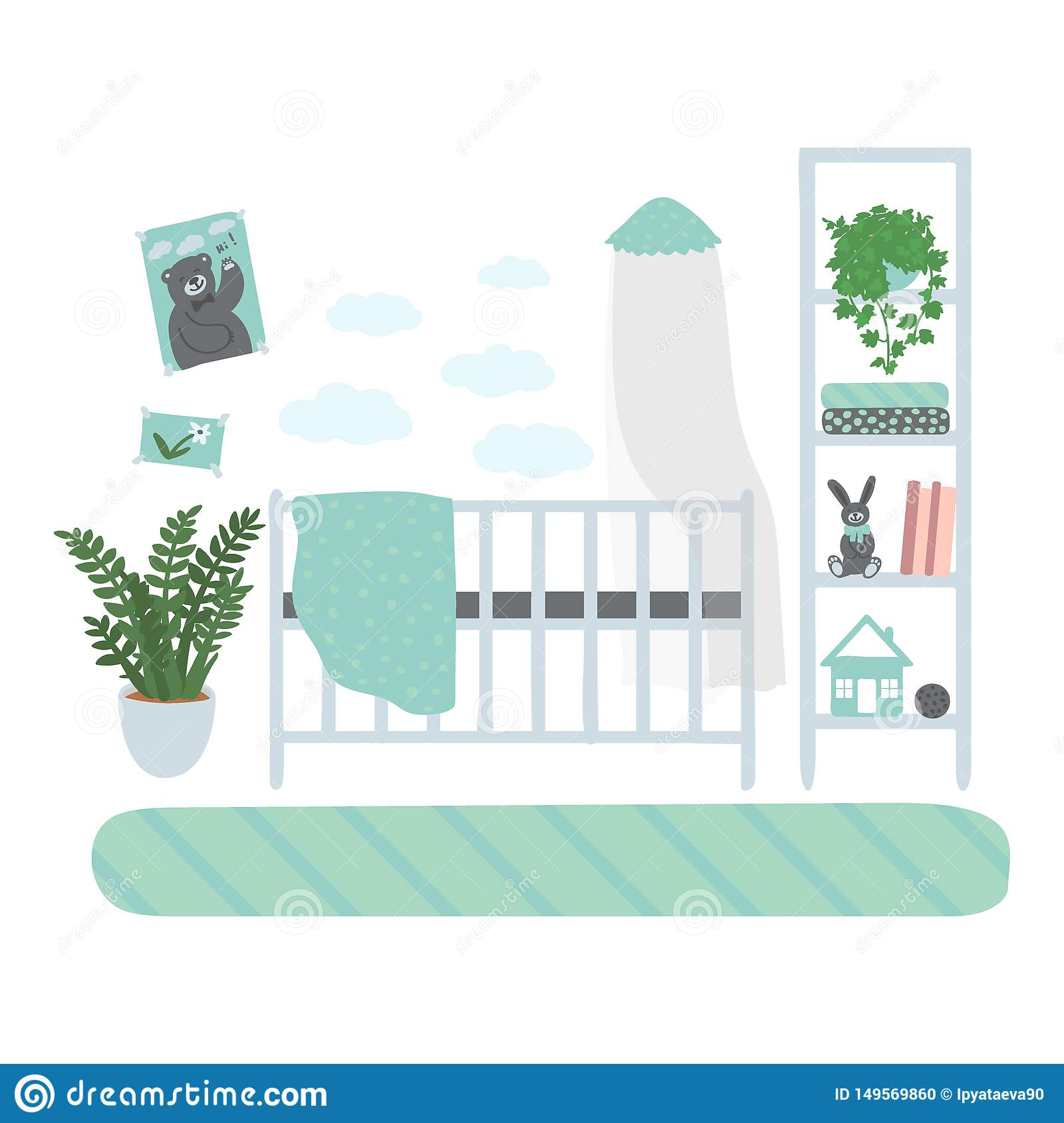 Interior children`s room. A set of furniture for the boy`s room. Furniture isolated on white background. Hand drawn
