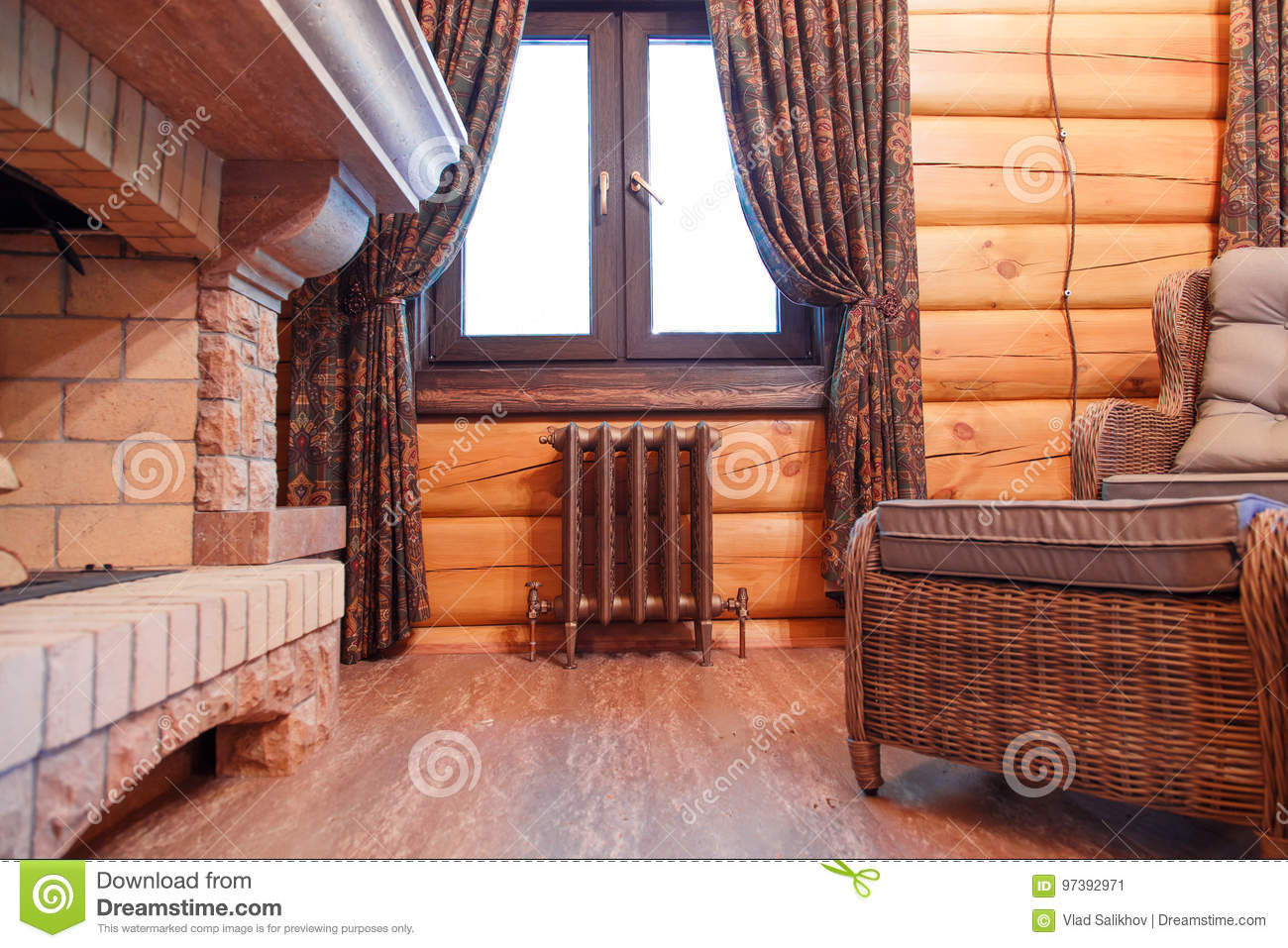 Interior Of A Chimney Hall In A Wooden House With A Cast Iron Retro Radiator Under The Window Stock Image Image Of Decorative Retro 97392971
