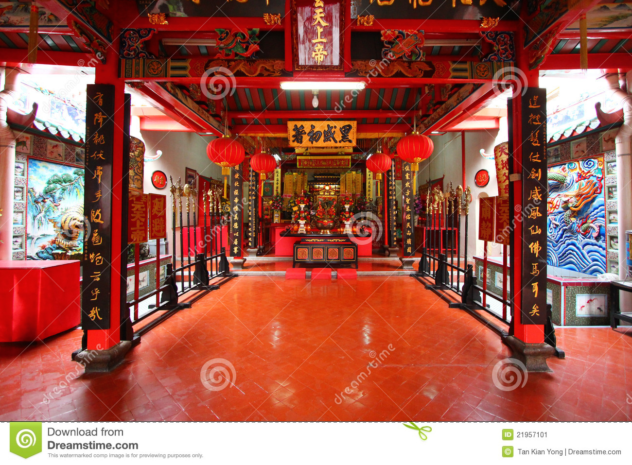 Interior Of A Chinese Temple Stock Image Image 21957101