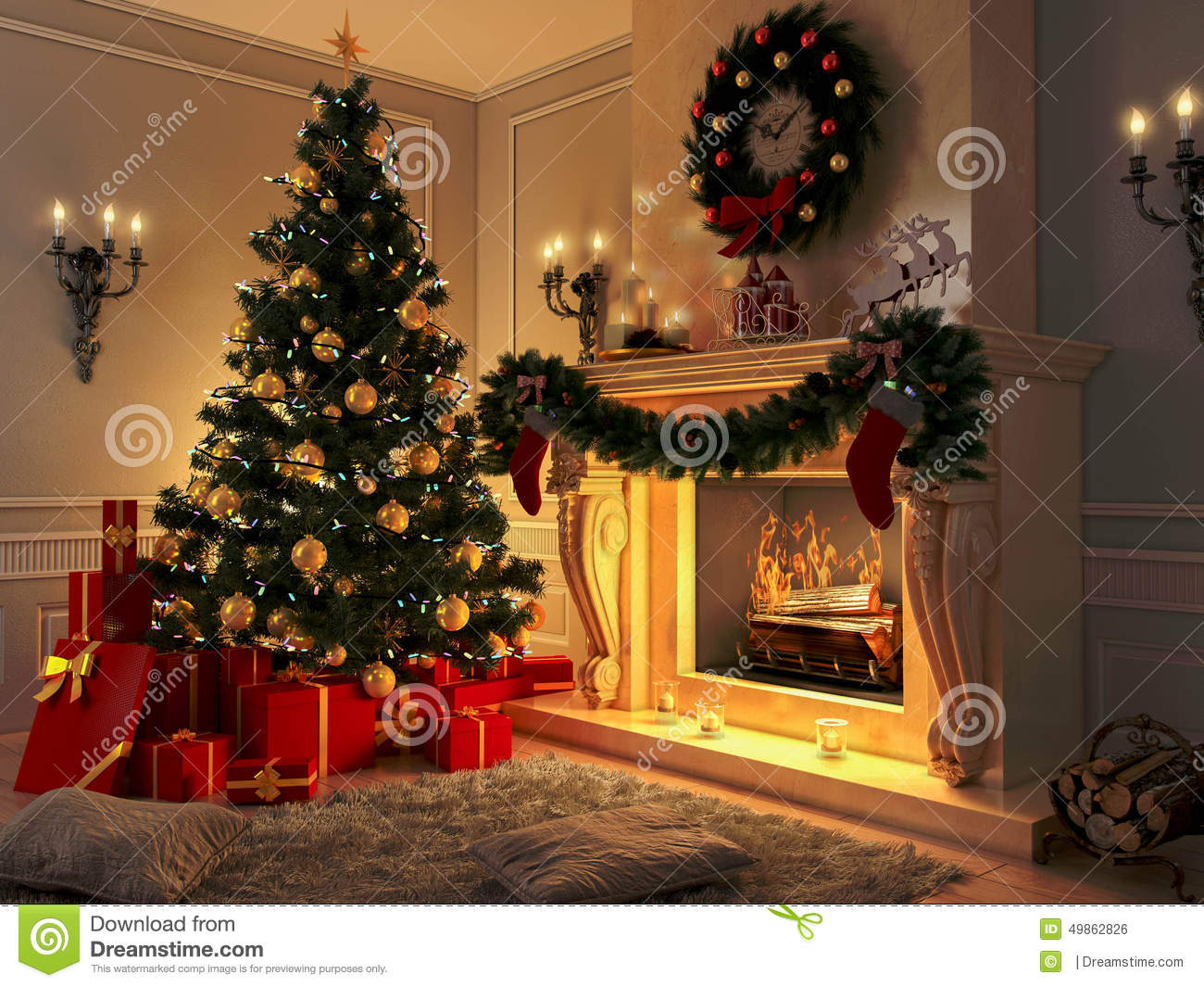 Interior With Christmas Tree Presents And Fireplace