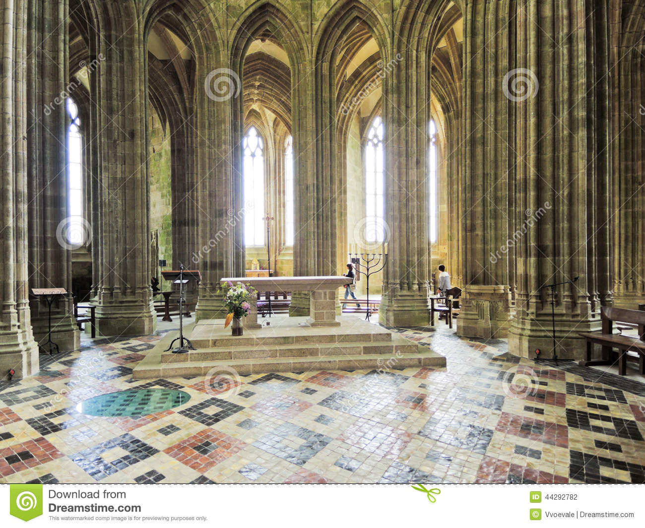 Interior of church in abbey mont saint michel editorial for French interieur