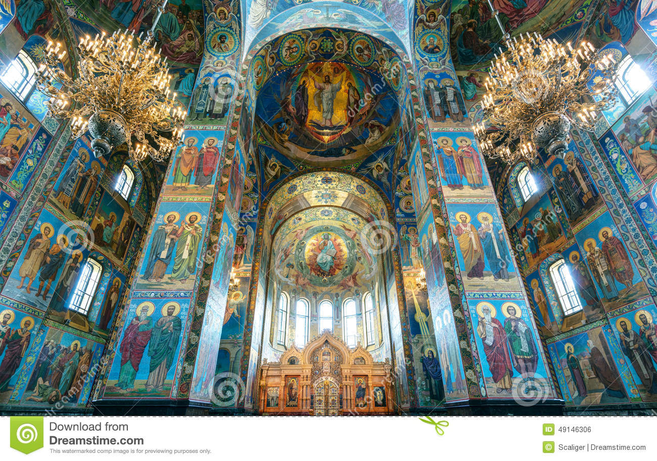 Interior Of Church Of The Savior On Spilled Blood, St Petersburg Stock ...