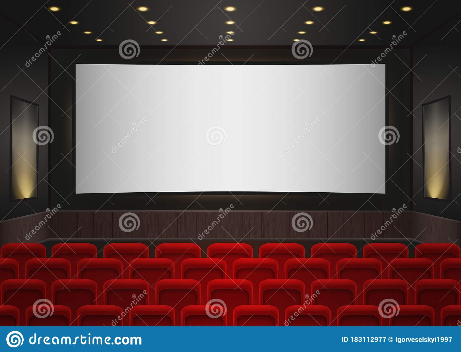 Interior Of A Cinema Movie Theatre Red Cinema Or Theater Seats In Front Of White Blank Screen Empty Cinema Auditorium Background Stock Illustration Illustration Of Interior Illustration 183112977