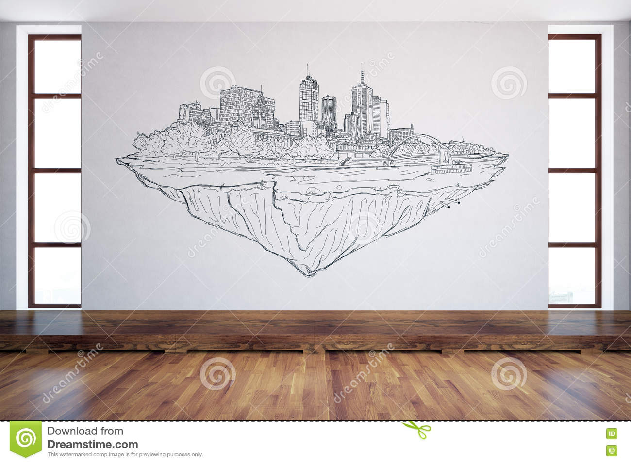 Interior With City Sketch Stock Illustration - Image: 78263281