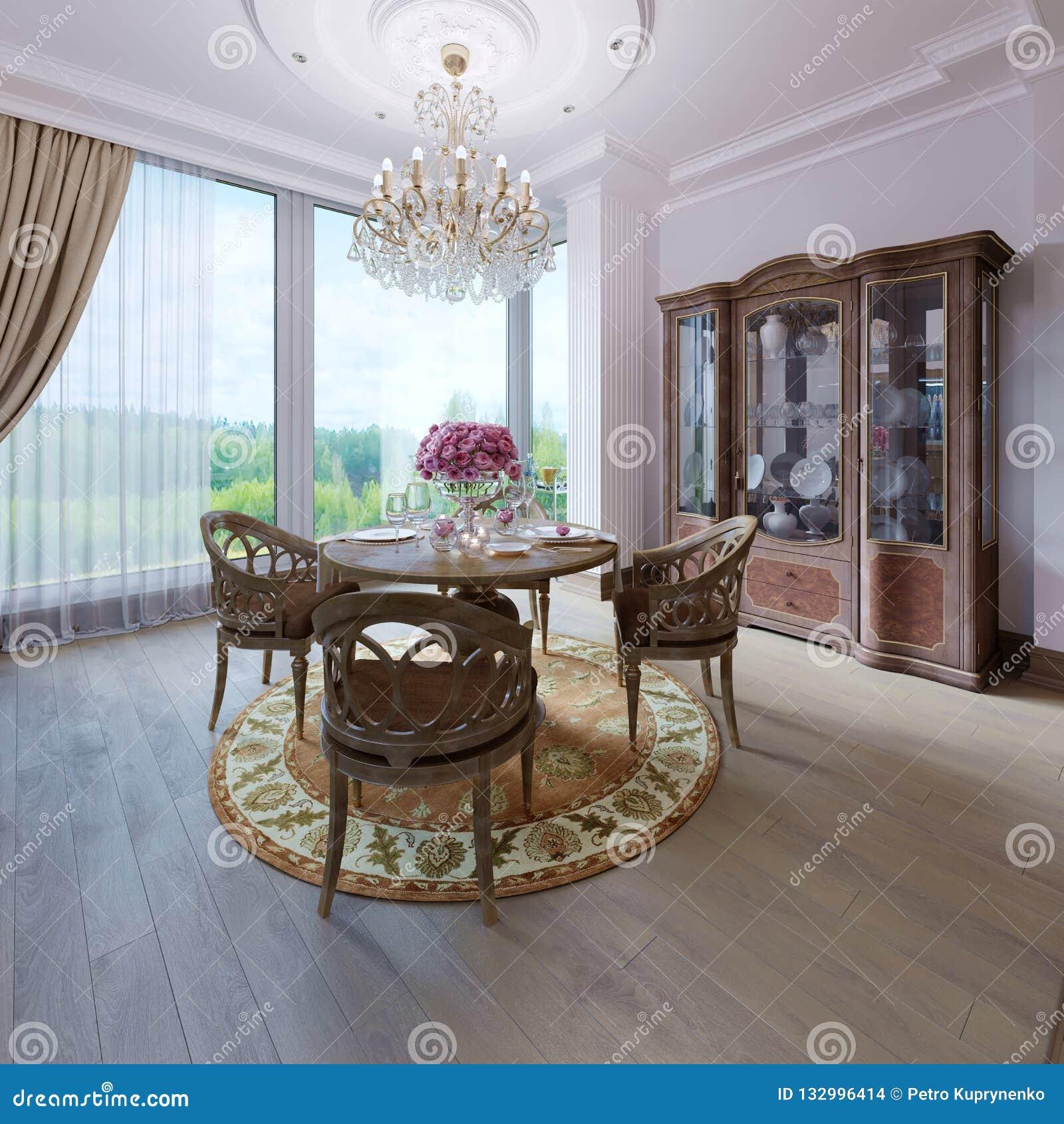Interior clásico de lujo elegante de un comedor Brown colorea diseño interior de madera