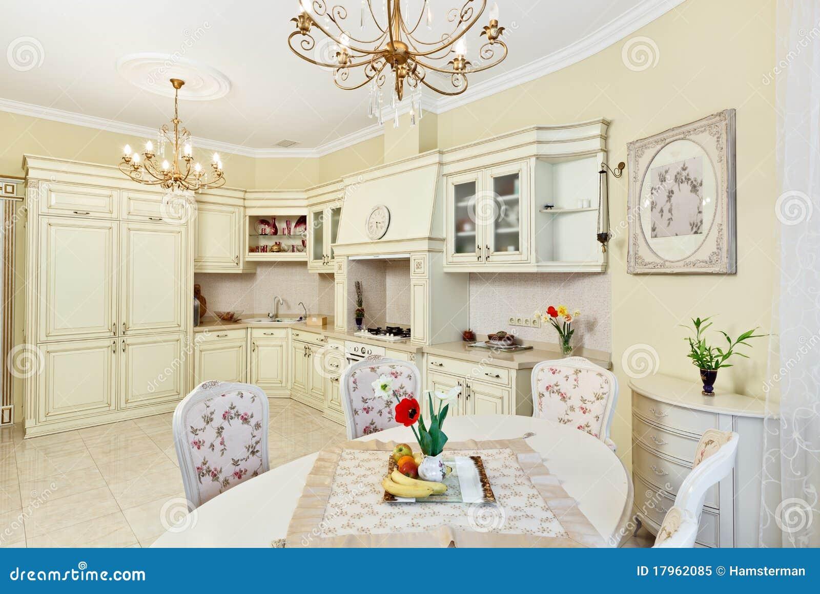 Interior clássico da cozinha e da sala de jantar do estilo em cores  #82A229 1300 959