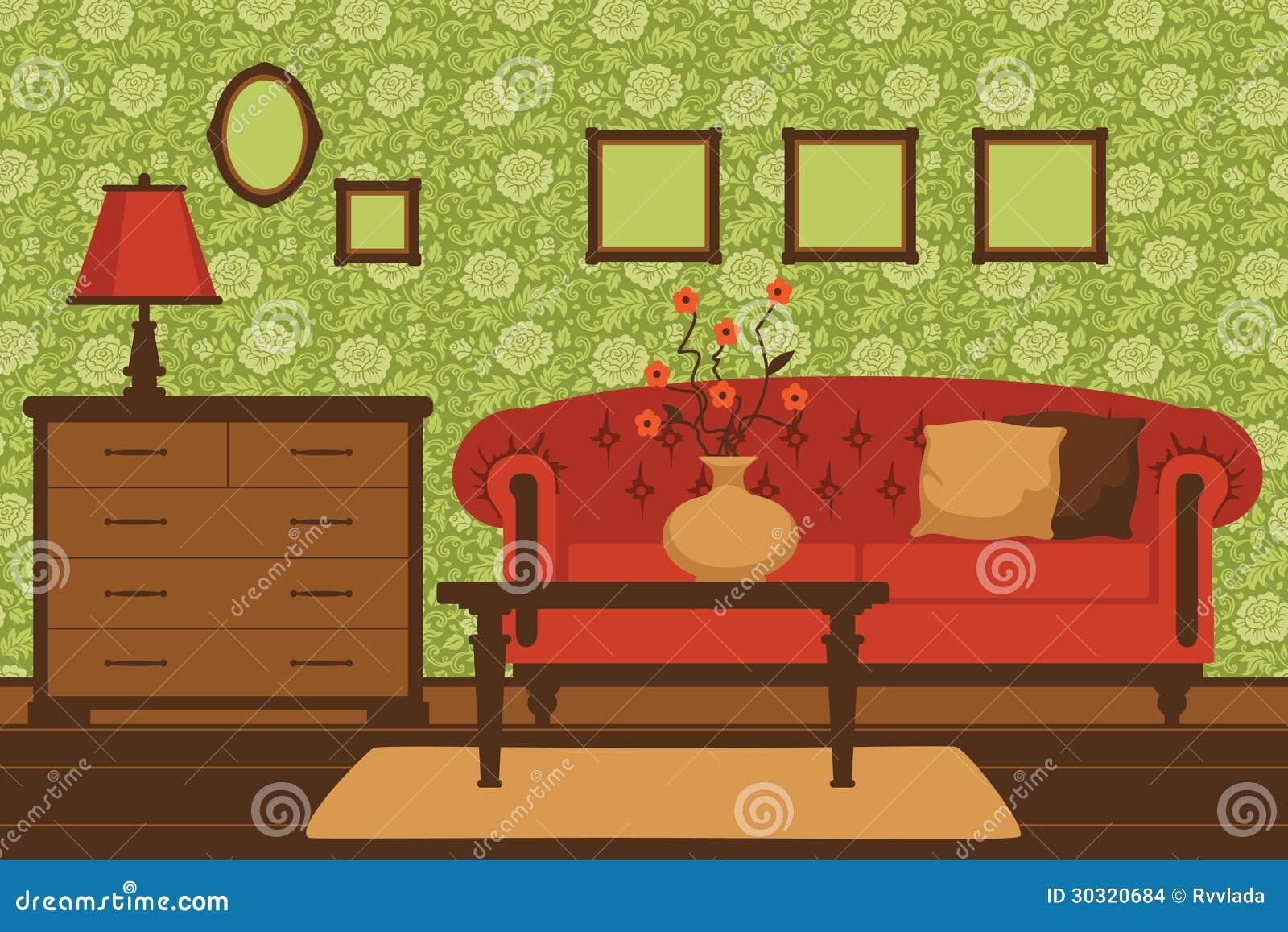 Interior Cl Ssico Da Sala De Visitas Ilustra O Do Vetor  -> Papel De Parede Para Sala Com Sofa Vermelho