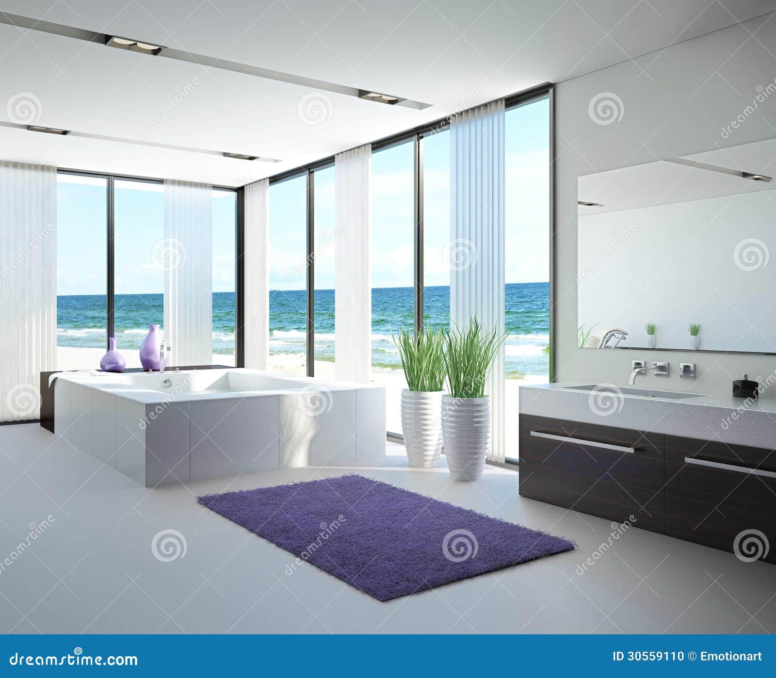 interior claro do banheiro com jacuzzi ilustra o stock