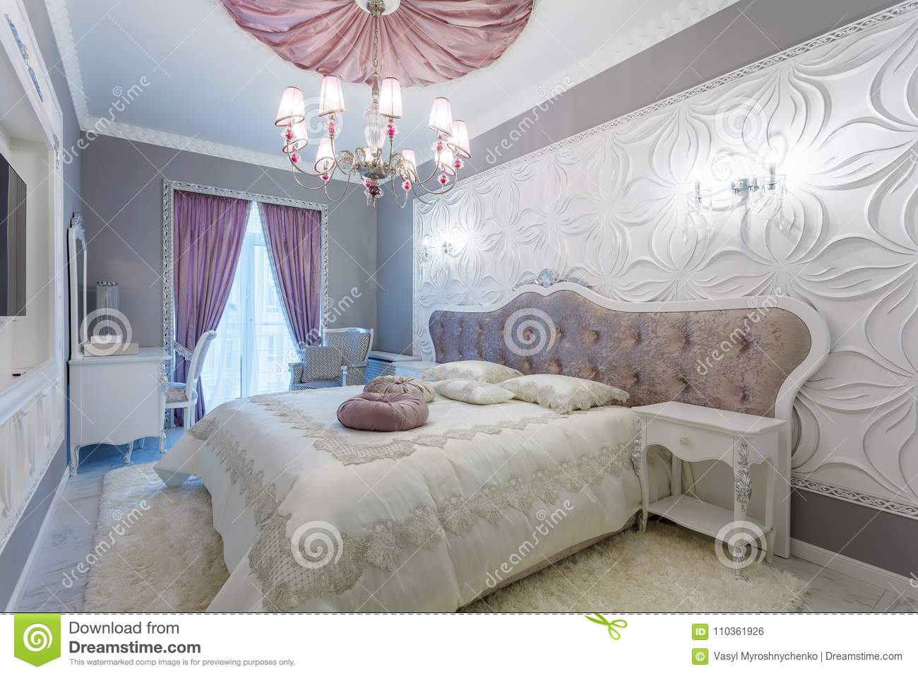 Classic Bedroom With Double Bed Tv Stock Photo Image Of