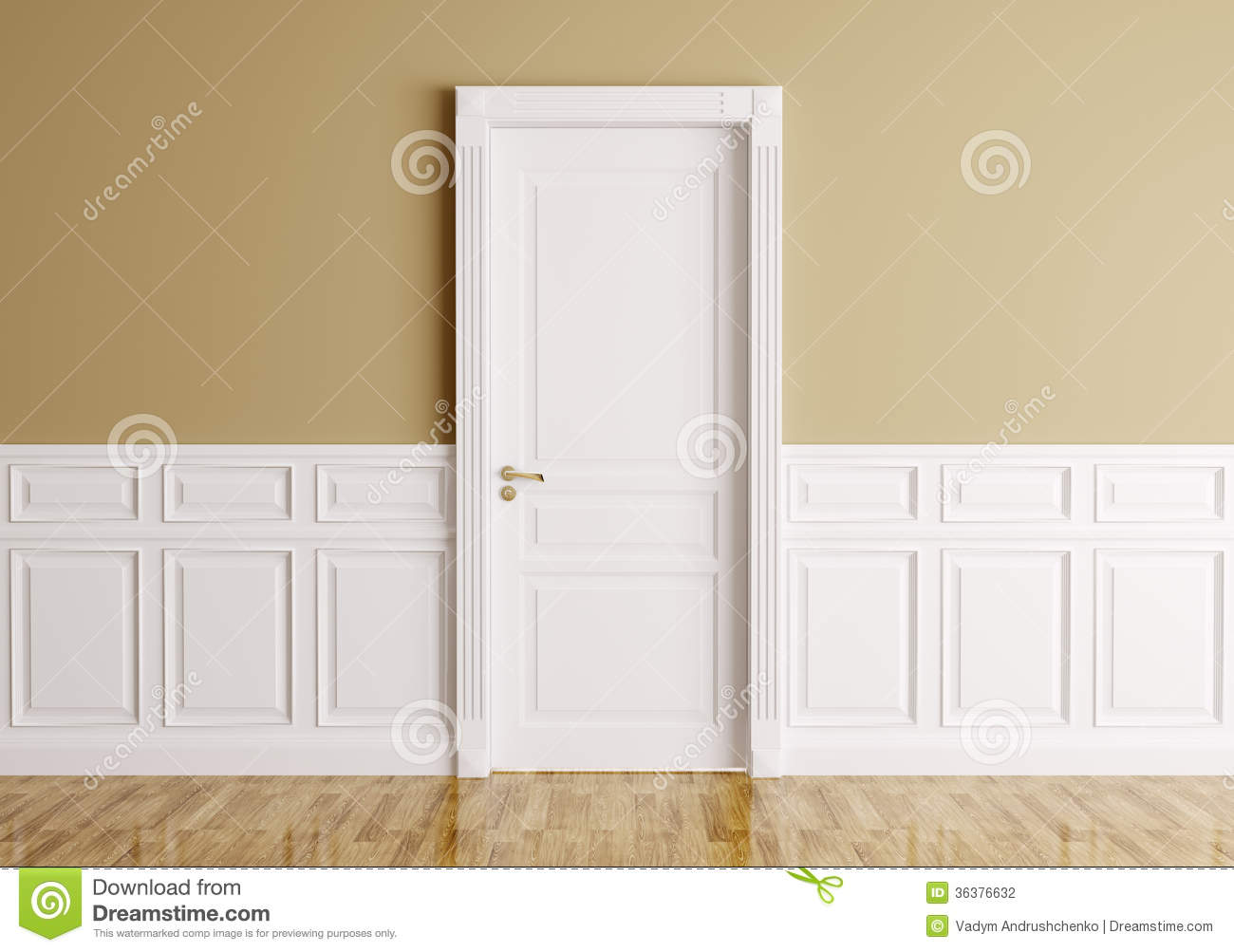 Interior with classic door stock illustration image of nobody 36376632 for Porte interieur design