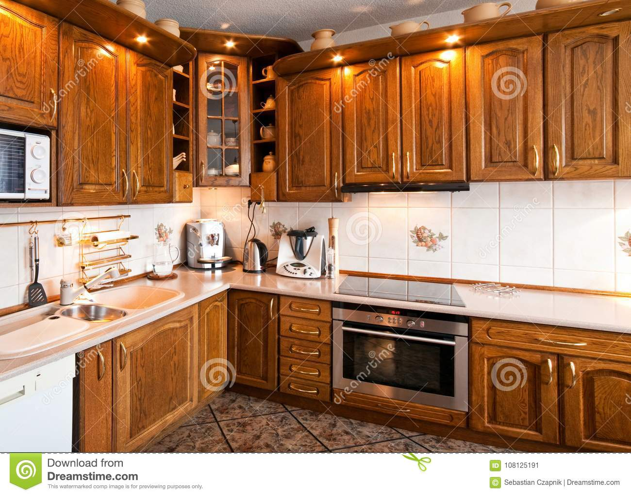 Interior Of A Classic Kitchen With Wooden Furniture Stock ...
