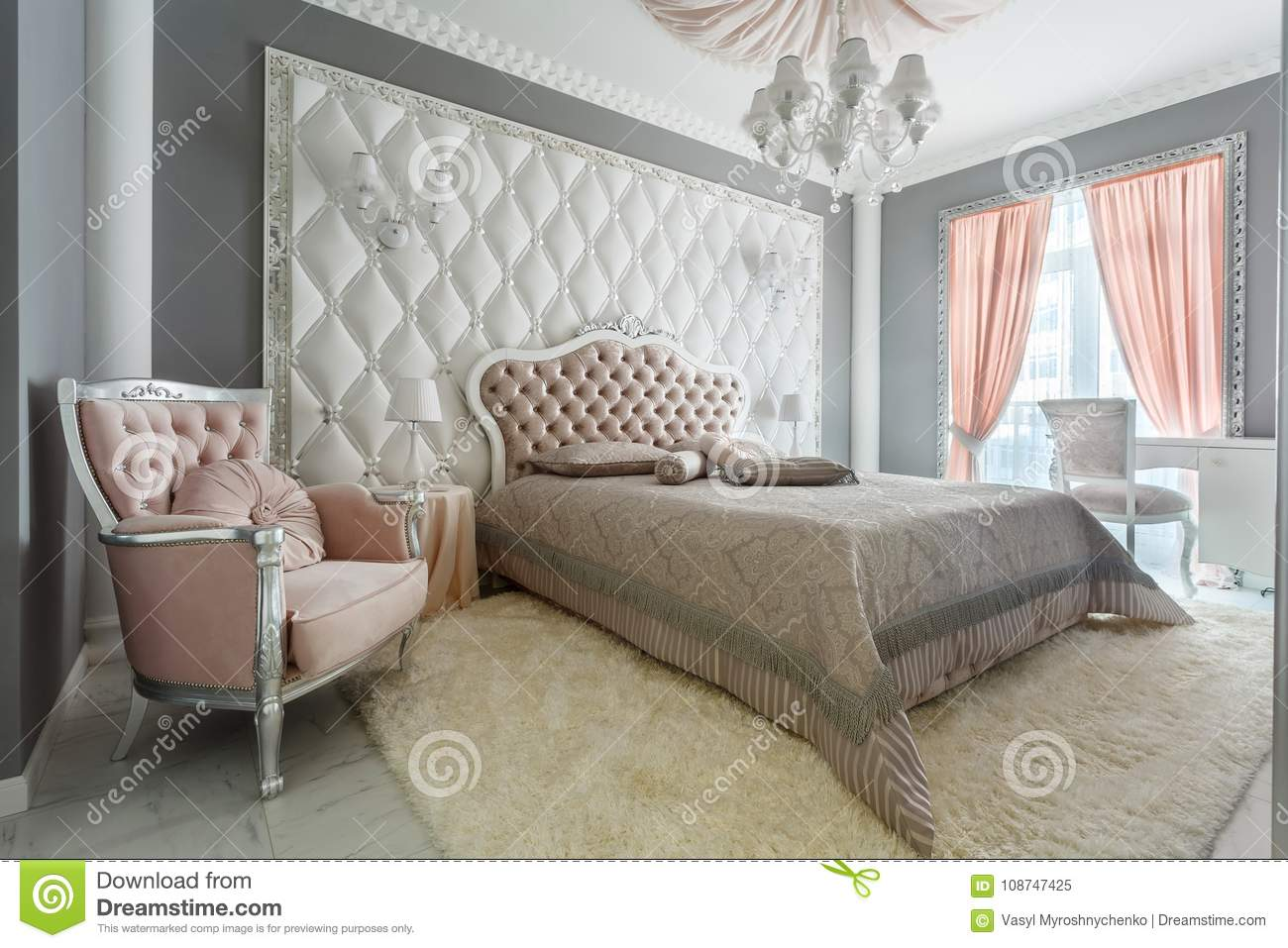Interior Of A Classic Style Bedroom In Luxury House Stock Image Image Of Elegance Bedside 108747425