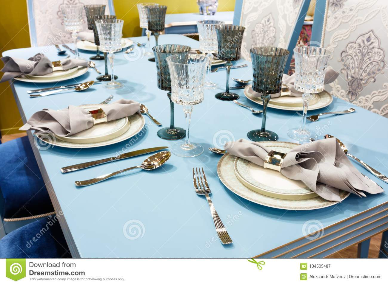 Interior Of Classic White Kitchen And Dining Area; Served Table For ...