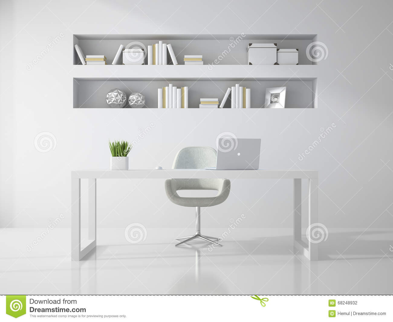 Interior Of Clean White Office Room 3d Rendering Stock