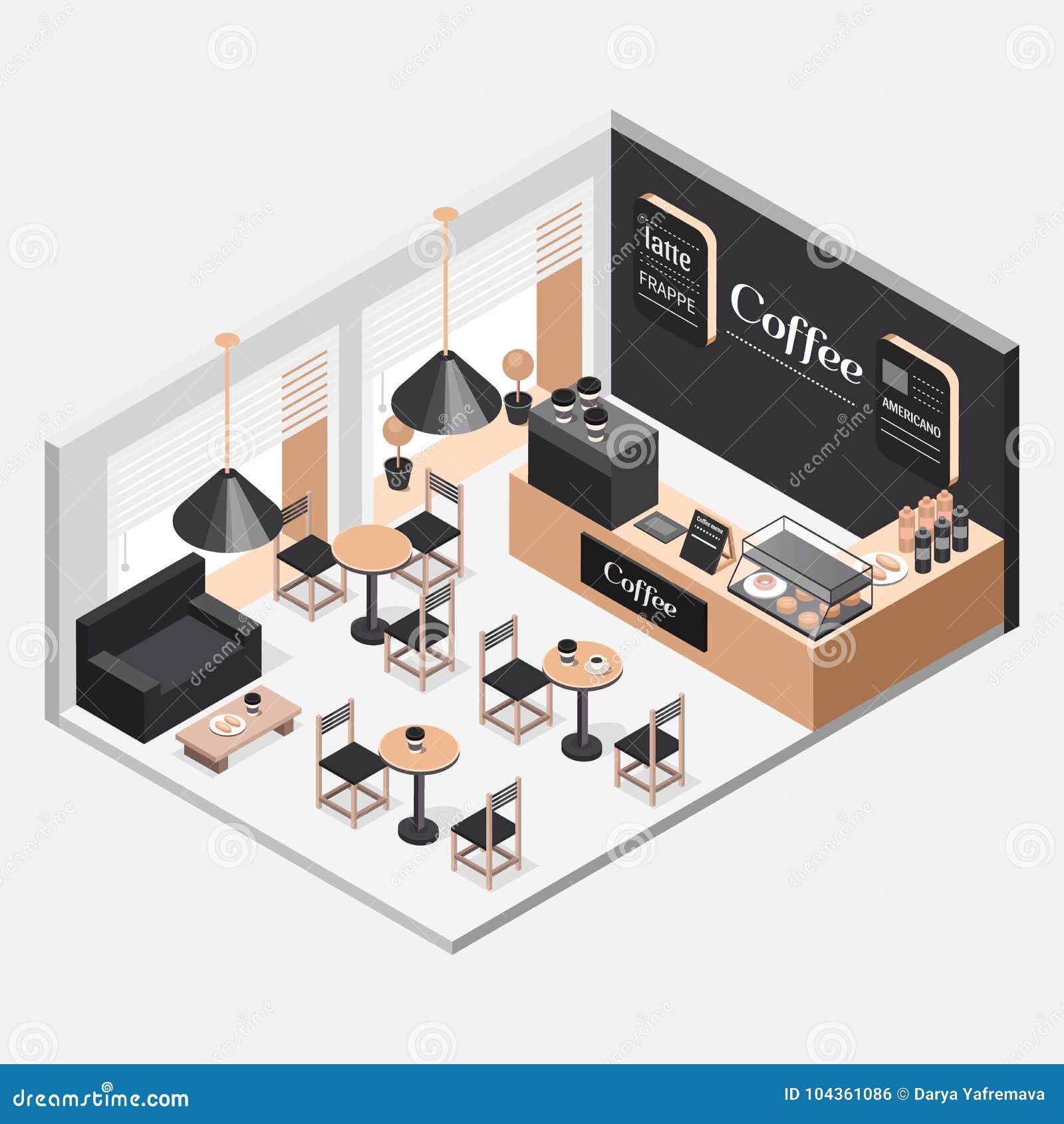 Interior Of Coffee Shop Stock Illustration Illustration Of Menu 104361086