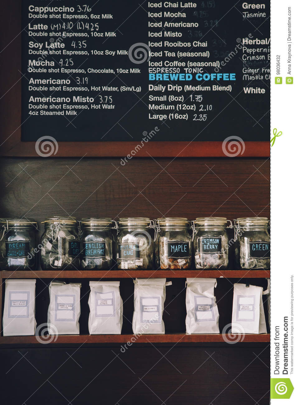Interior Of Coffee Shop Wooden Board With Names Of Coffee Hot And
