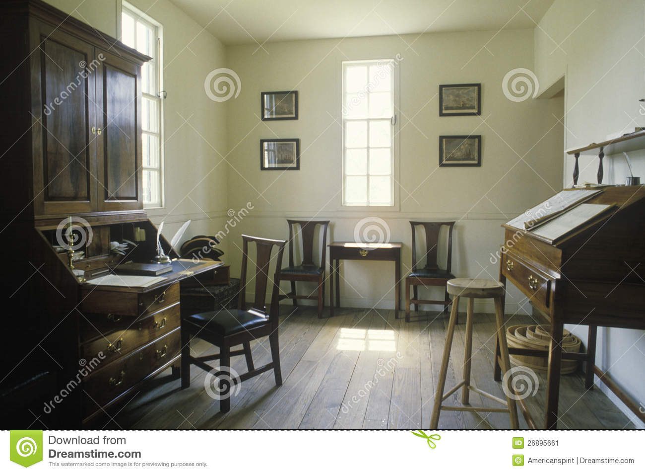 Interior Of Colonial Era Office In Historical Williamsburg Virginia