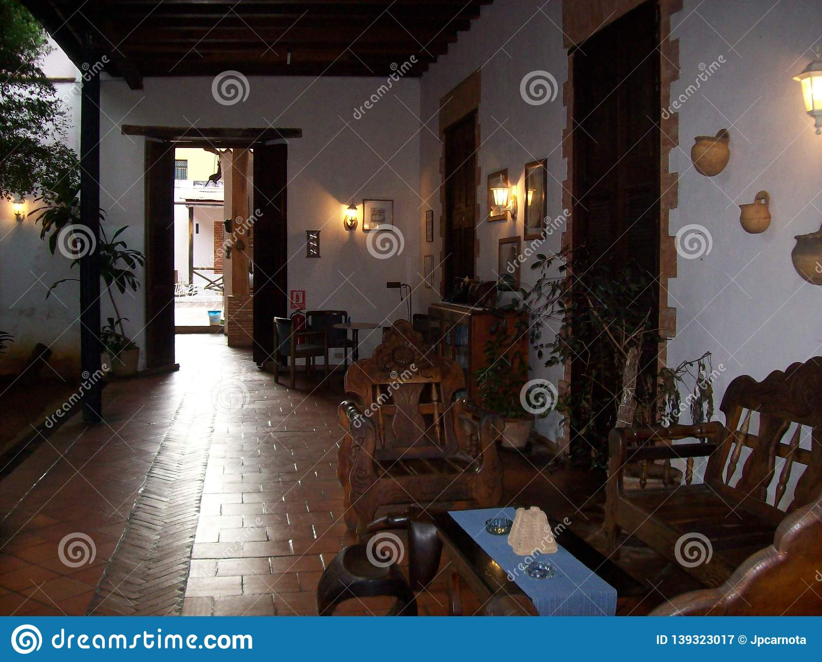 Interior Of A Colonial House In The Spanish Style In Venezuela South America Editorial Photography Image Of South Interior 139323017,Covered Backyard Bbq Area Design Ideas