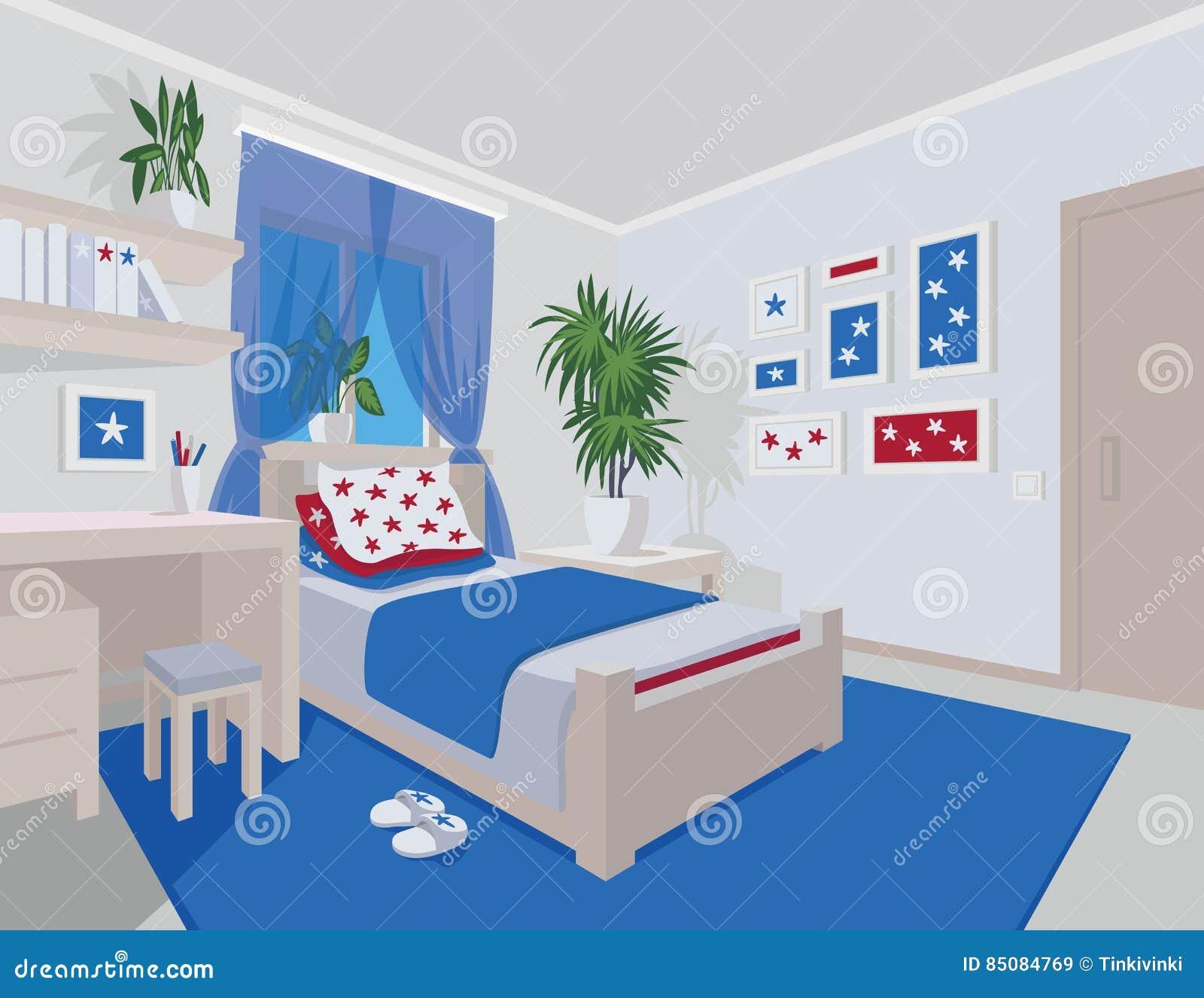 Interior colorido do quarto no estilo liso dos desenhos for Dormitorio animado