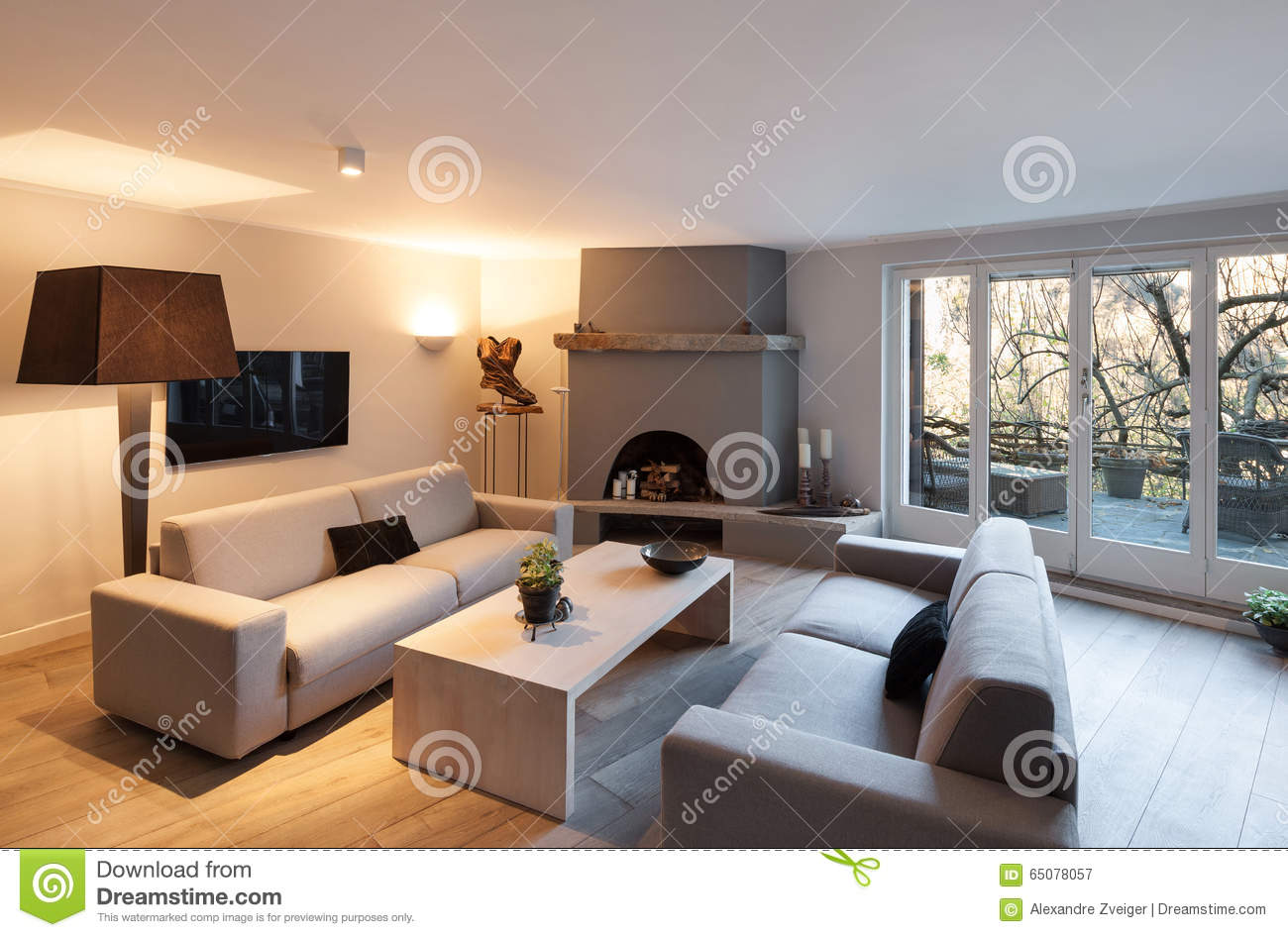 Interior Of House Modern Comfortable Living Room With Fireplace