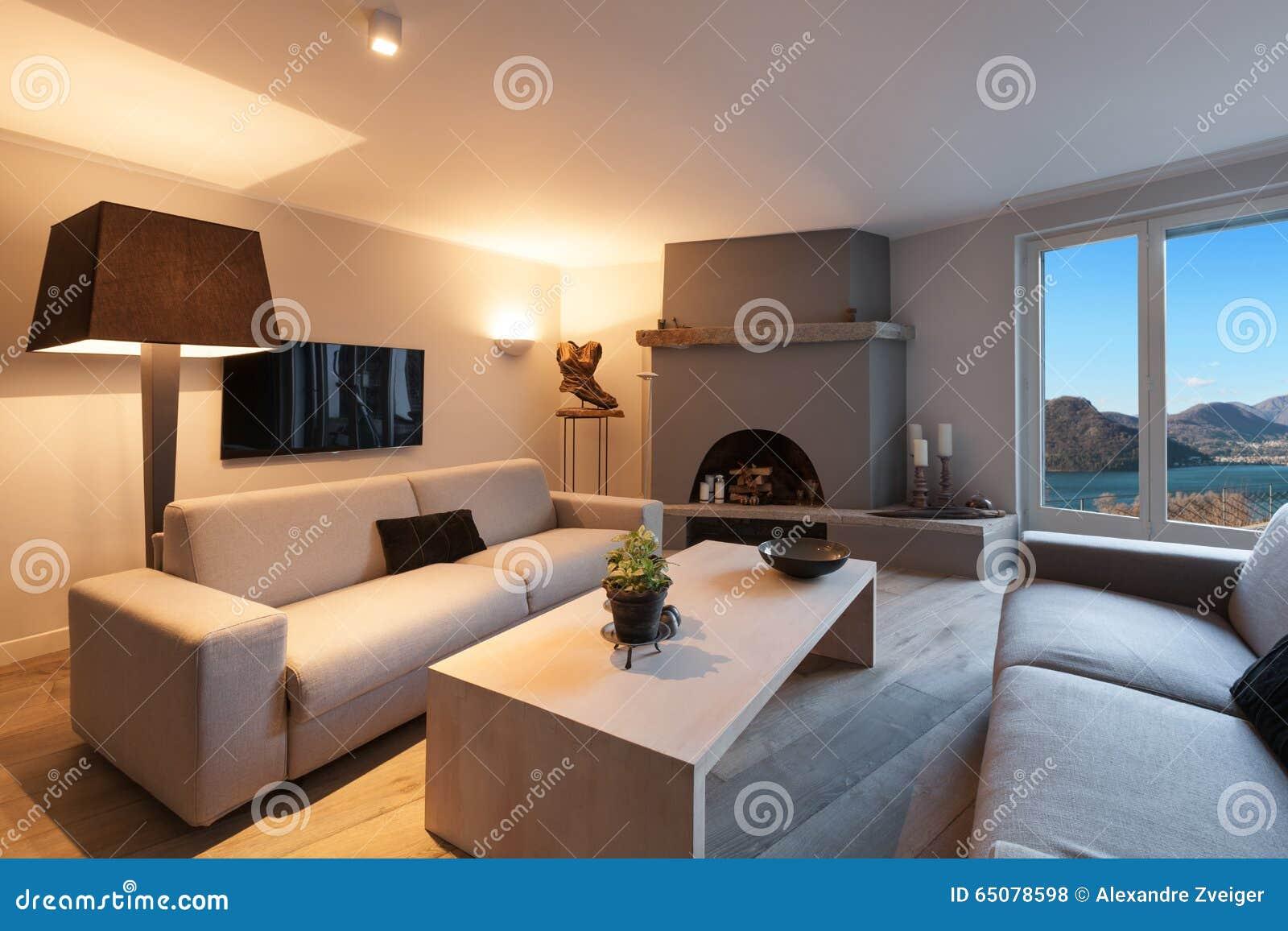 Interior Comfortable Living Room Stock Photo Image