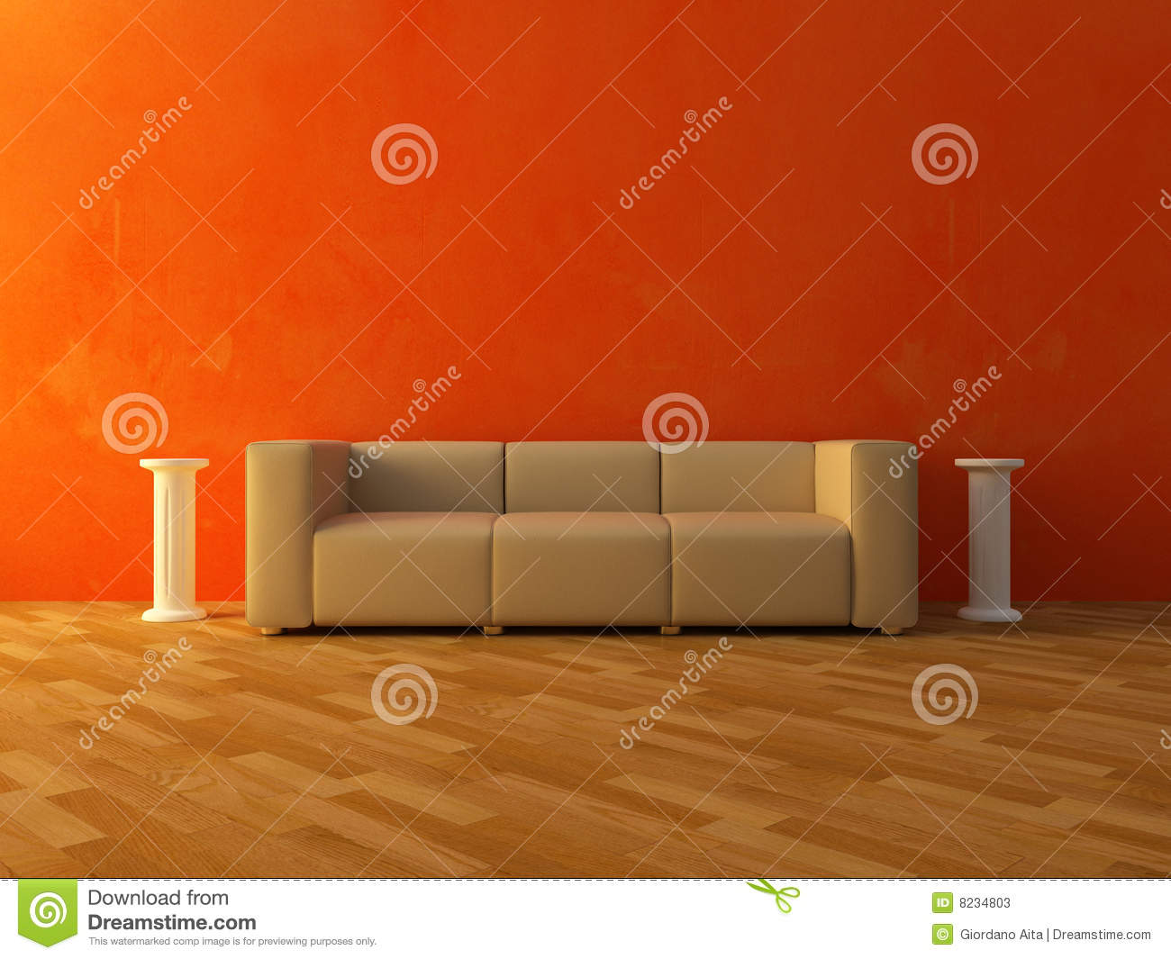 Interior Comfortable Sofa On Red Wall Stock Photos